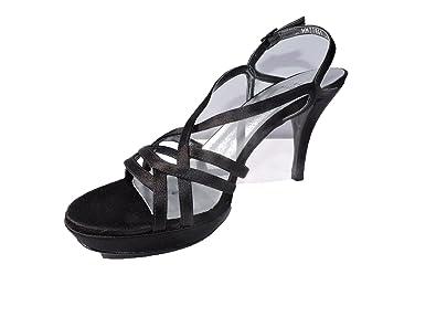 eed92ba81edc Image Unavailable. Image not available for. Color  Stuart Weitzman Womens  Path Black Satin Platform 4 quot  Heeled Sandals Open Toe Size ...