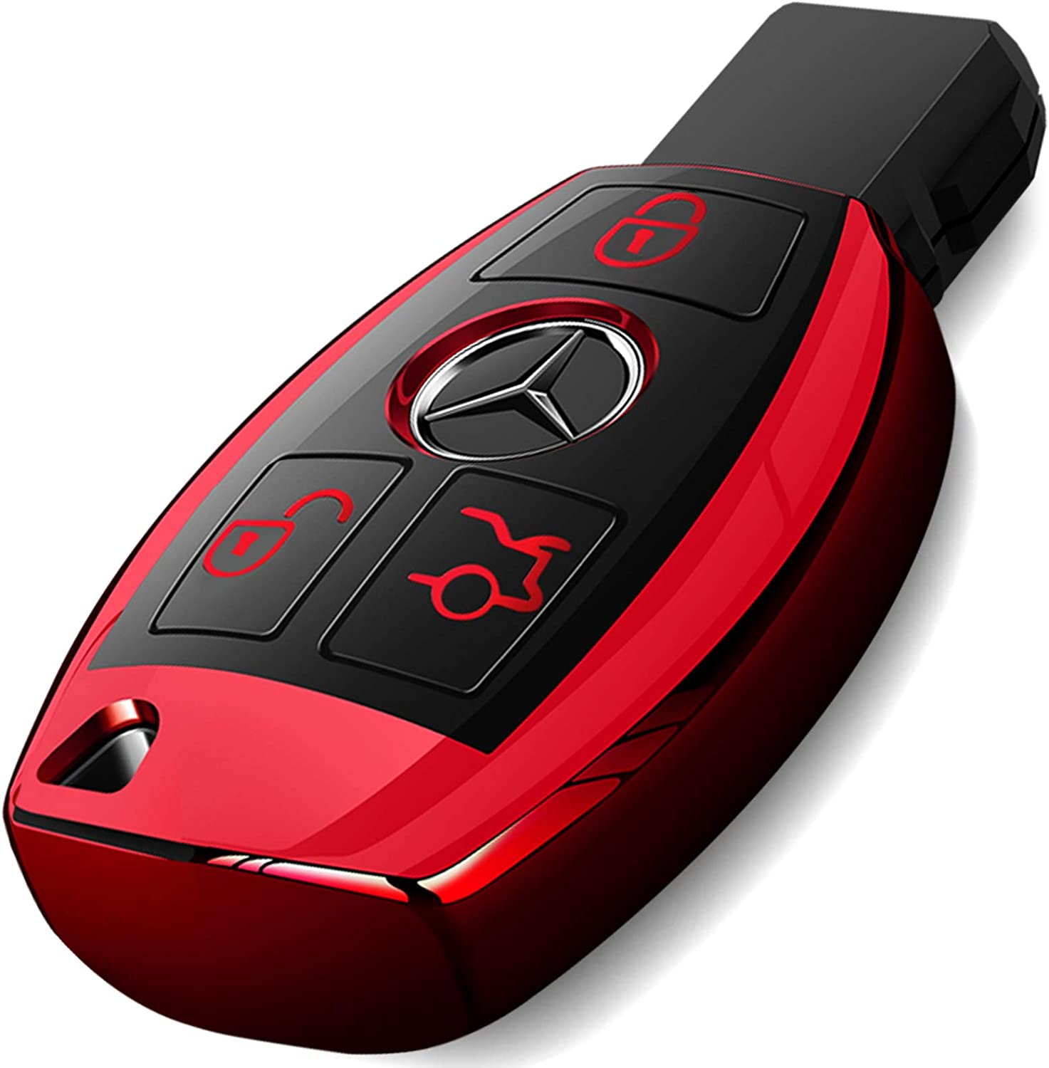 Intermerge for Mercedes Benz Key Fob Cover, Special Soft TPU Key Case Cover Protector Compatible with Mercedes Benz C E G S M GL CLS CLK G Class Keyless Smart Key Fob Case_Red