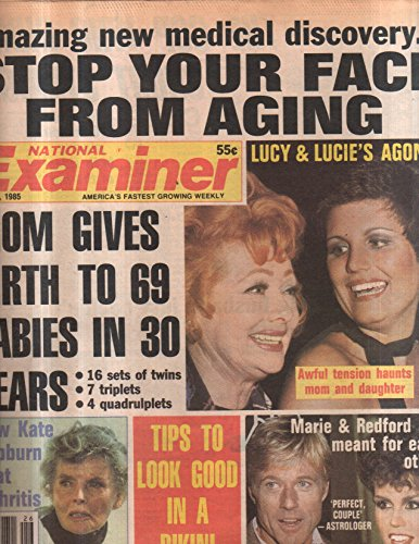 - National Examiner 1985 jun 25 Lucy & Lucie's Agony,Kate Hepburn,Redford, Marie O
