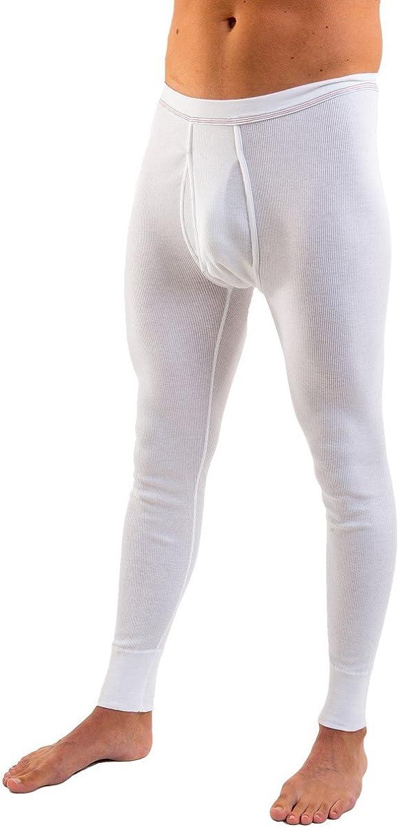 HERMKO 3542 Herren Lange Unterhose Doppelripp mit Eingriff aus 100/% Bio-Baumwolle