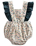 DeerBird Newborn Infant Baby Girl Ruffle Sleeve Bowknot Rompers Bodysuits Short Jumpsuits Size 12M Beige Floral
