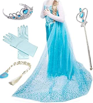 Iwfree Deguisements Princesse Elsa Petites Filles Robe Manches Longues Princesse Reine Des Neiges Costume Et Accessoires Amazon Fr Jeux Et Jouets