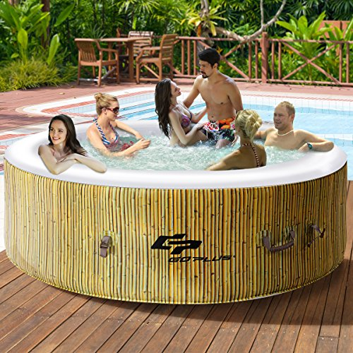 Goplus 6 Person Inflatable Hot Tub for Portable Outdoor Jets Bubble Massage Spa Relaxing w/ Acce ...