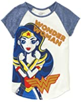 Wonder Woman Girls' Fierce Raglan Short Sleeve Crew Neck Graphic T-Shirt