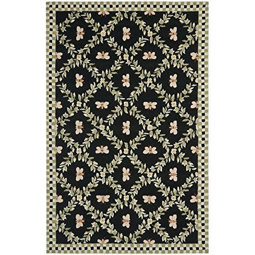 Safavieh Chelsea Collection HK55B Hand-Hooked Black Premium Wool Area Rug (5'3