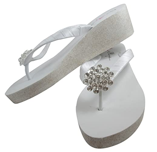 0f4770d9bad5c Image Unavailable. Image not available for. Color  Customizable Jewel    Glitter Wedge White Flip Flops with Bling Jewel for Wedding Sandals
