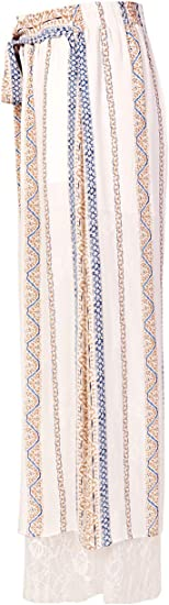 Artka Womens Wide Leg Chiffon Pants Striped Palazzo Trousers White and Fade Navy