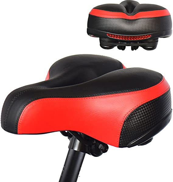Aolander Bicycle Saddle with DUAL SHOCK ABSORBING BALL Most Comfortable Leather Bike Seat Memory Foam Padded Giant Bicycle Seat Men Women New Look MTB Road City Bike Saddle with
