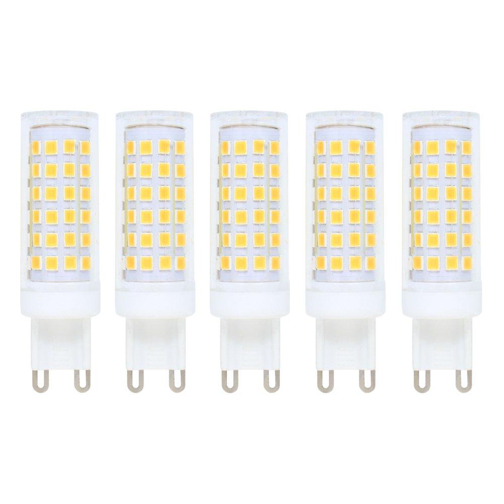 Regulable Bombilla LED G9, 9W Equivalente a Bombilla Haló gena de 70 W, Luz Blanco Frí o 6000K, 76 x 2835 SMD (fuentes de luz brillante), Bombilla LED, 700 lm, AC220 - 240 V, Bombilla LED de ahorro de energí a, 5 unidades Luz Blanco Fr