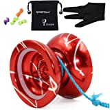 MAGICYOYO N11 Yoyos with Weight Rings Professional Unresponsive Yoyo ball 5 String Glover with Yo-yos Bag Red&Sliver