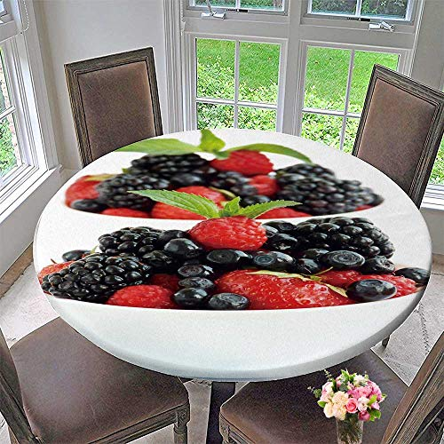 PINAFORE HOME Circular Table Cover White Bowls with Kind Berries Shallow dof for Wedding/Banquet 35.5
