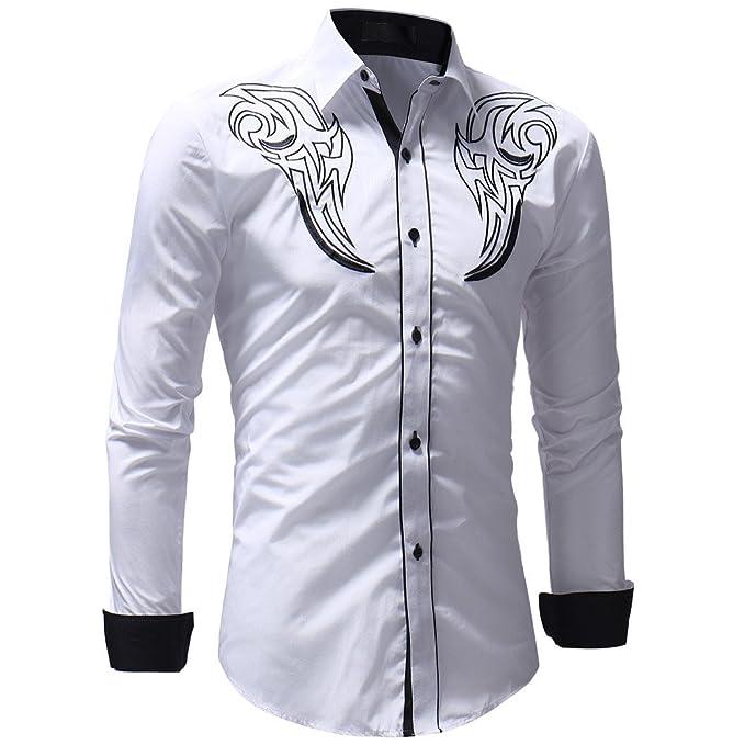 YanHoo Blusa Superior del Bordado Ocasional del Invierno del otoño de los Hombres Camiseta de Manga Larga Blusa Delgado y Guapo Mantener Caliente: ...