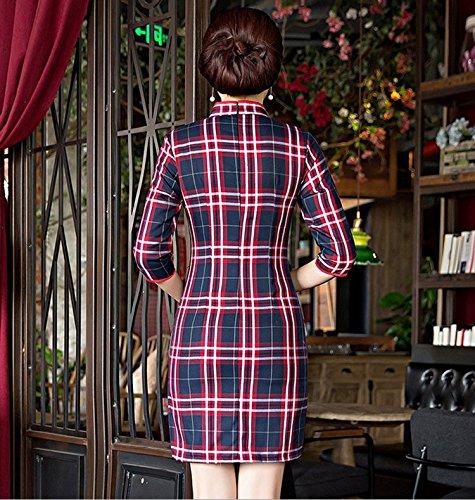 ACVIP Damen Sieben Punkten Ärmel mit Gitter Baumwolle Chinesische Etuikleid