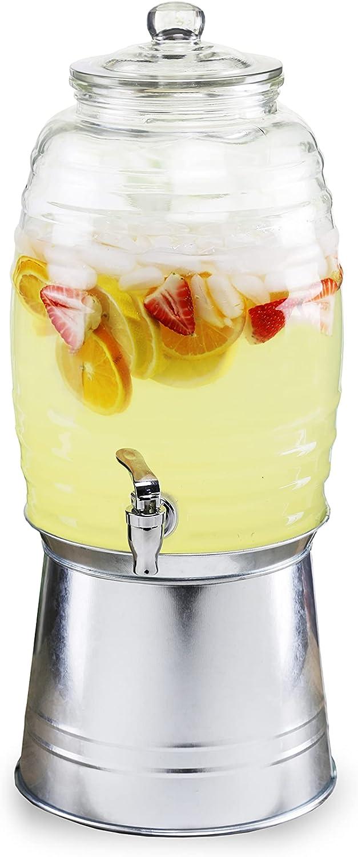 Style Setter Oak Grove Beverage Dispenser Cold Drink Dispenser w/ 2.5-Gallon Capacity Glass Jug, Galvanized Base & Leak-Proof Acrylic Spigot Great for Parties, Weddings & More