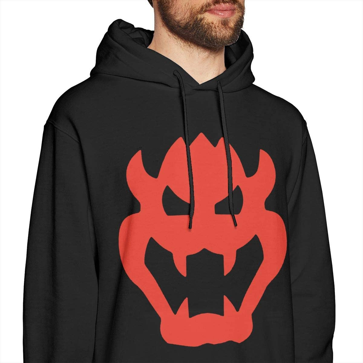 MUSICOT Bow-ser Mens Pullover Hooded Sweatshirt Cozy Sport Outwear Black