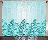 Turquoise Decor Curtains Decorative Retro Medieval European Victorian Gradient Royal Pale Patterns Artwork Print Living Room Bedroom Decor 2 Panel Set Blue