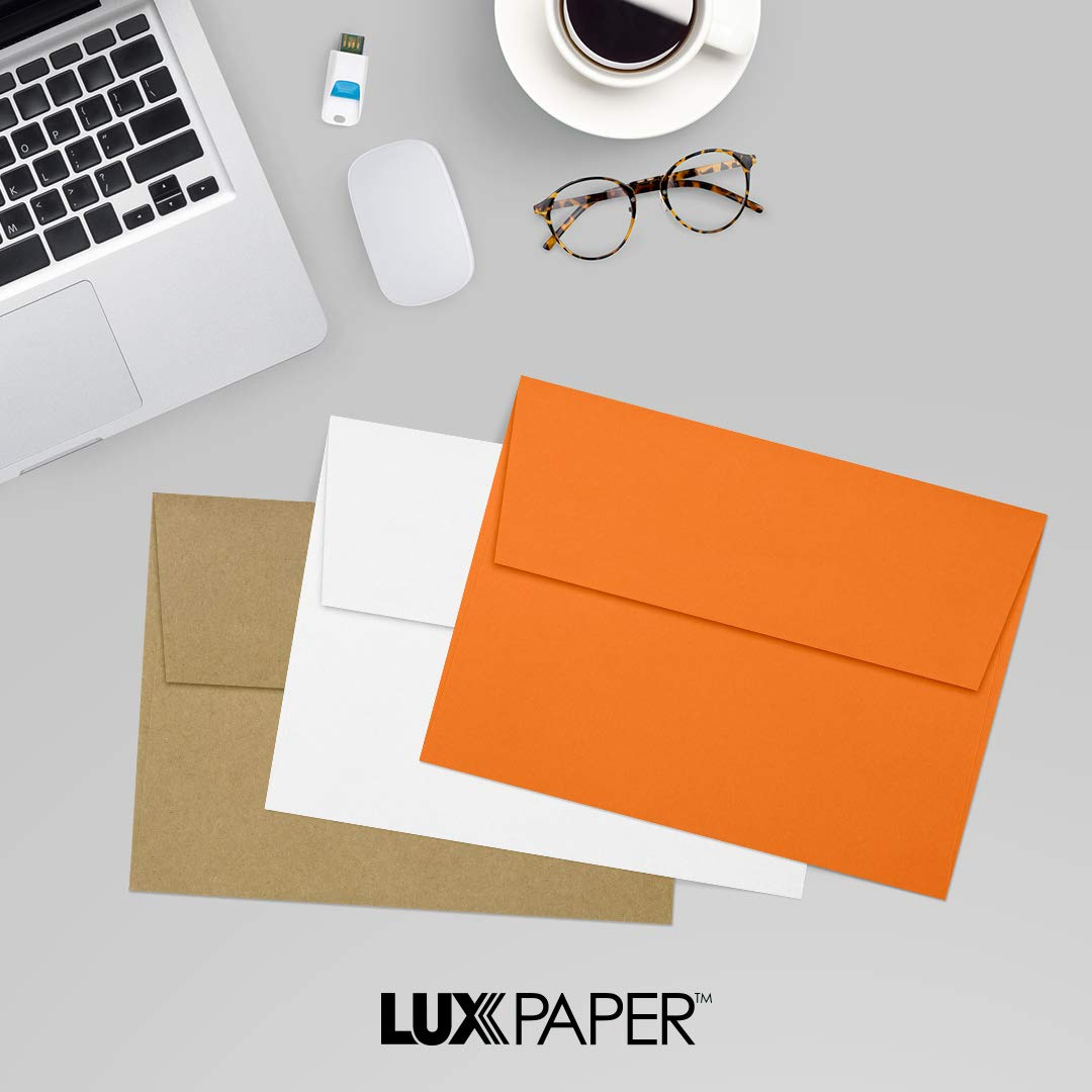 LUXPaper A7 Invitation Envelopes for 5 x 7 Cards in 80 lb. Mandarin, Printable Envelopes for Invitations, w/Peel and Press Seal, 50 Pack, Envelope Size 5 1/4 x 7 1/4 (Orange) by Envelopes.com