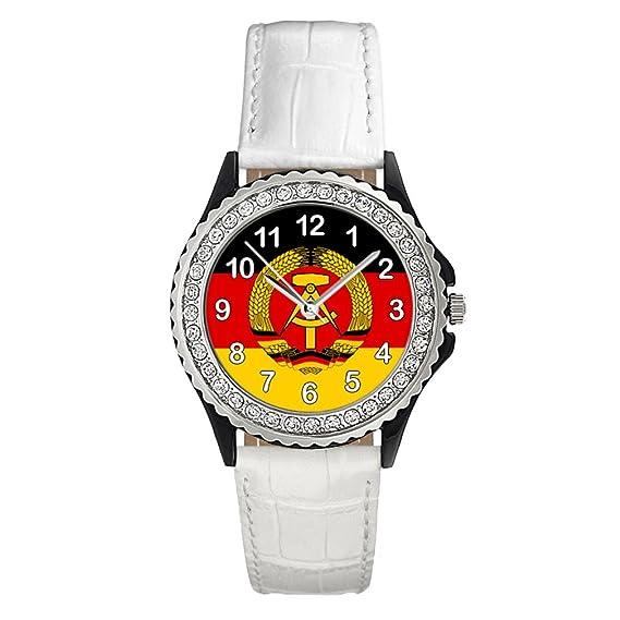Timest - República Democrática Alemana Reloj del cuero blanco para mujer con piedrecillas Analógico Cuarzo CSG0082w