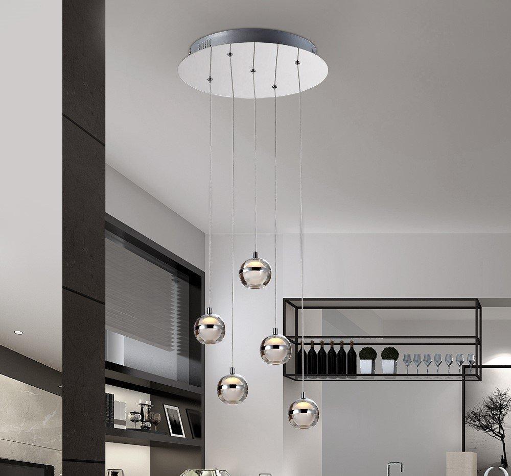 Stylehome® 15W LED Hängelampe Höhenverstellbar Kronleuchte Hängeleuchte Deckenlampe Esszimmer Wohnzimmer Wohnzimmer Wohnzimmer 4237-05A Chrom Warmweiss (A++) 317860