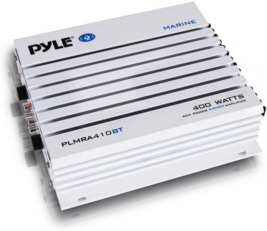 Pyle 2.1 Bluetooth Marine Amplifier Receiver - Waterproof 4 Channel Wireless Bridgeable Audio Amp for Stereo Speaker with 400 Watt Power Dual MOSFET Supply, GAIN Level and LED Indicator - PLMRA410BT