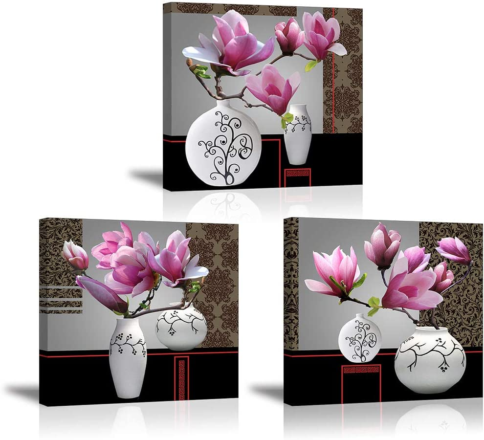 """Flower Wall Art Decor for Bedroom, SZ Still Life Canvas Prints of Pink Orchid Flowers & White Vases, Beautiful Floral Pictures (Waterproof Artwork, 1"""" Thick, Bracket Mounted Ready to Hang)"""