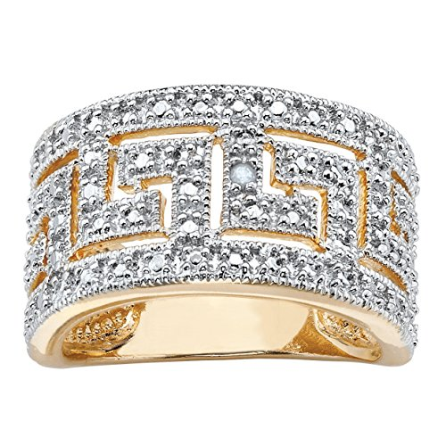 Palm Beach Jewelry Round White Diamond Accent Greek Key Cutout Dome Ring 18k Gold-Plated Size (Gold Plated Cut Out)