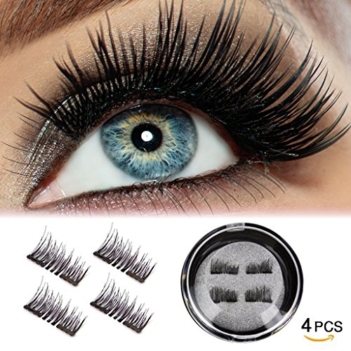 Magnetic False Eyelashes[No Glue], Cover the entire eyelids ,Cruelty Free, Dual Magnets, Magic 3D Fake Lashes Extension - Ultra Soft & Natural Look & Handmade 4 PCS