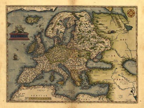 OFA Mapping Reproduction d'une Carte Ancienne de Abraham Ortelius représentant l'europe 78x57cm Format A1