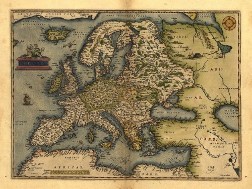 Reproduction Antique Map of Europa, Europe, by Abraham Ortelius A1 Size 78 x 57 cm