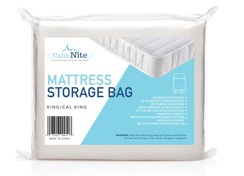 CalmNite Extra Thick Mattress Storage Bag for Moving and Storing – Clear 4 MIL Plastic - Protects Bedding and Furniture From Moisture, Dirt, Bugs and Pests - 94 x 96 King, California King - By