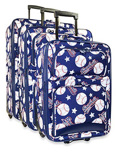 Ever Moda 3-Piece Carry On Luggage Set with Wheels, Rolling Suitcase, Navy Baseball (Cheerleading Outfits Cheap)