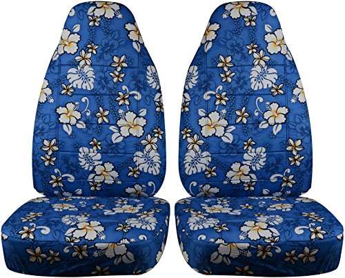 - Hawaiian Print Car Seat Covers: Blue w Flowers - Universal Fit - Front - Buckets - Option for Airbag, Seat Belt, Armrest & Seat Release/Lever Compatible (6 Prints)