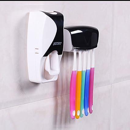 KingMas® Cepillo de dientes titular Set baño dispensador automático de pasta de dientes exprimidor de