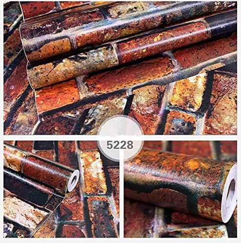 Yancorp Waterproof Self-Adhesive Wallpaper Rust Red Brown Brick Pattern Peel-Stick Wallpaper Wall Stickers Door Stickers Counter Top Stickers (Rust Red Brick) by Yancorp (Image #2)