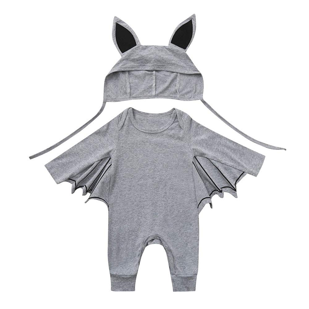 Treading - Infant Baby Boys Girls Christmas Santa XMAS Letter Plaid Romper Jumpsuit Outfits baby clothes winter clothes Costume Solid [ 18M Gray2 ]