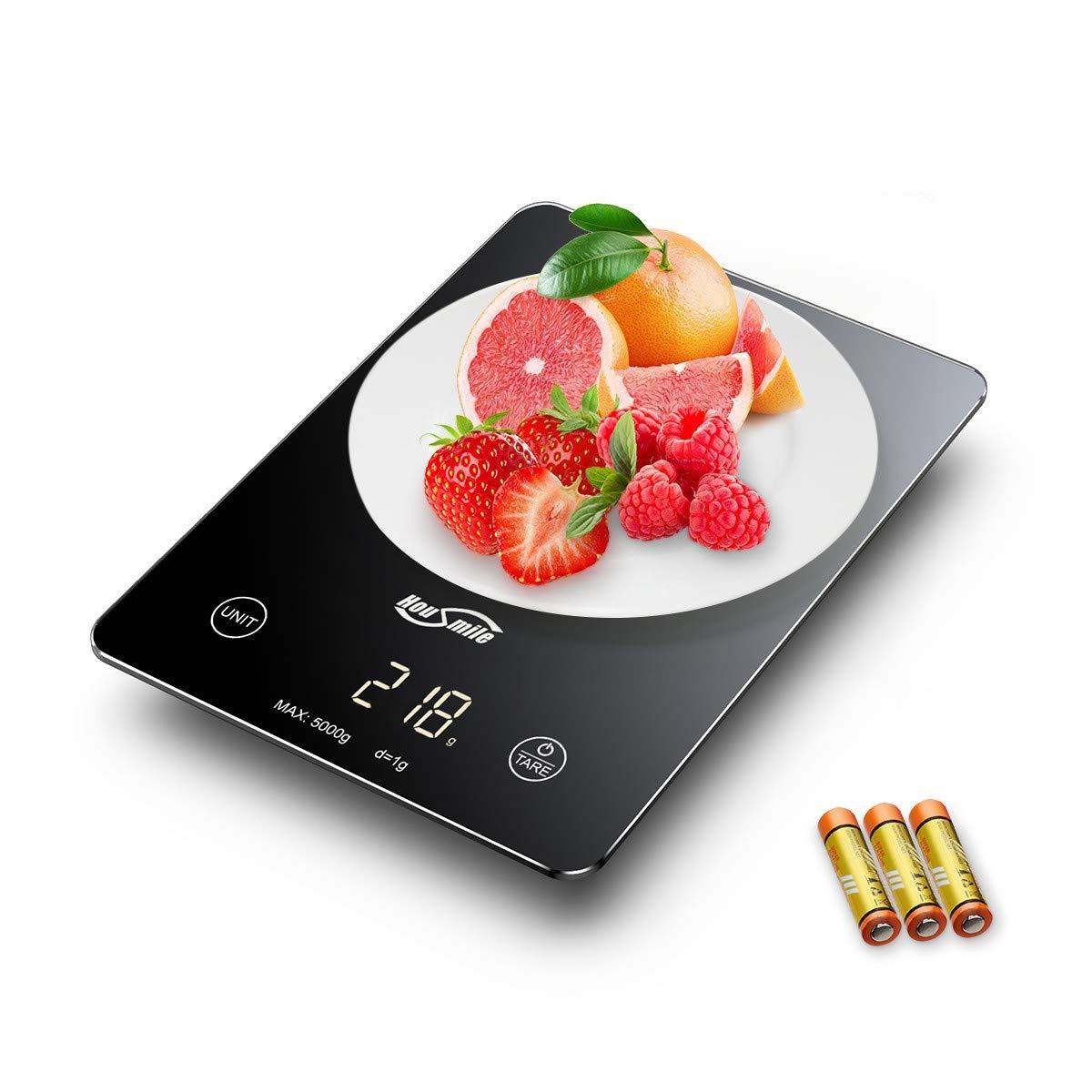Housmile Báscula Digital de Cocina, Báscula Electrónica Táctil para Cocinar, Balanza de Alimentos Multifuncional, 5kg / 11 lbs, Incluyendo Pilas con Gran Pantalla de LED Color-Negro