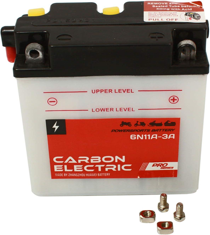 Carbon Electric Batterie 6N11A-3A Motorradbatterie 6V 11Ah Akkumulator Motorrad Roller Rollerbatterie