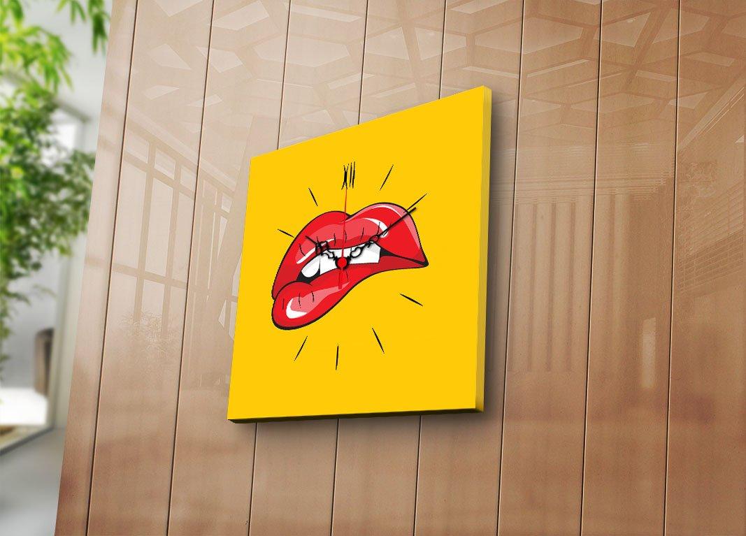 Amazon.com: LaModaHome Canvas Real Running Clock, Biting Red Lips ...