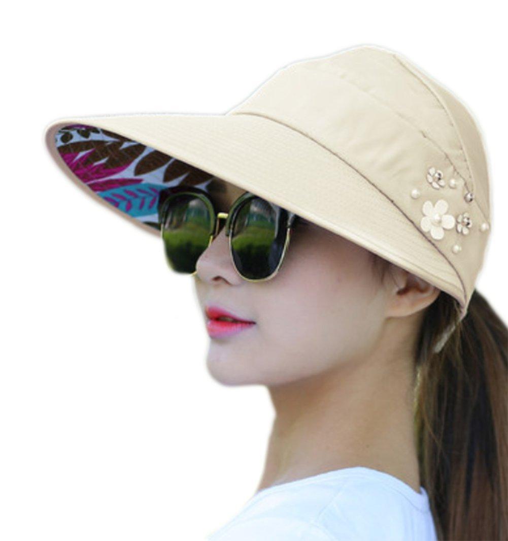 Lumanuby Chapeau pour femmes Sweet Couleurs pures /él/égant Chapeau de soleil Casquette pliable Plage d/ét/é ou lext/érieur Cap doux et respirant anti UV Red 56-58CM Coton