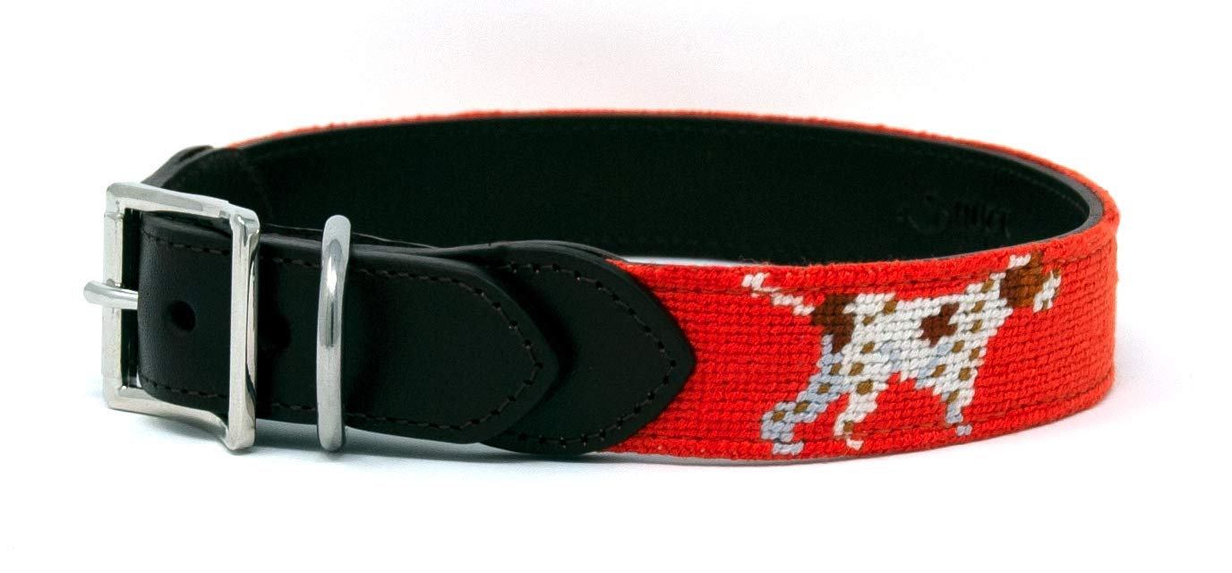 S Huck Venture Durable Handcrafted Artisan Needlepoint Dog Collar w Full-Grain Leather Backing and High-Grade Stainless Steel Hardware (Pointer Dog, Small)