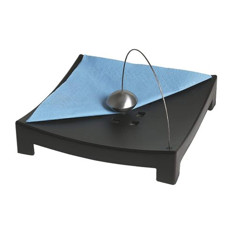 22 cm de ancho base de materiales: polipropileno tama/ño montado: 22 cm de largo Servilletero negro 5 cm de alto alambre de pl/ástico: acero inoxidable lacado transparente bola: aluminio
