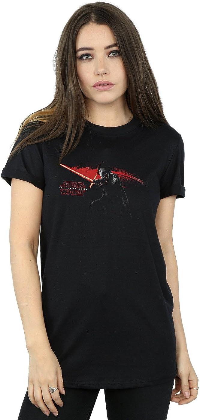 TALLA L. STAR WARS Mujer The Last Jedi Kylo REN Hand Camiseta del Novio Fit