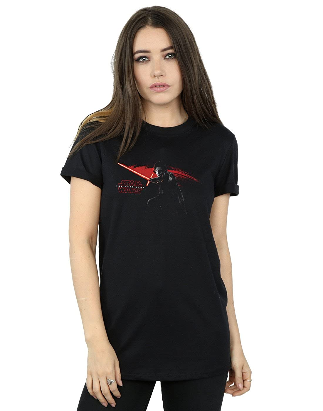 STAR WARS Mujer The Last Jedi Kylo REN Hand Camiseta del Novio Fit