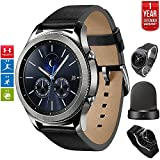 Samsung Gear S3 Classic Bluetooth Watch with Built-in GPS Silver (SM-R770NZSAXAR) with Wireless Charger Bundle + Wrist Band Silver + 1 Year Extended Warranty