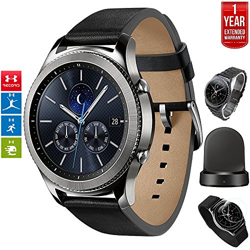 Samsung Gear S3 Classic Bluetooth Watch with Built-in GPS Silver (SM-R770NZSAXAR) with Wireless Charger Bundle + Wrist Band Silver + 1 Year Extended Warranty by Beach Camera