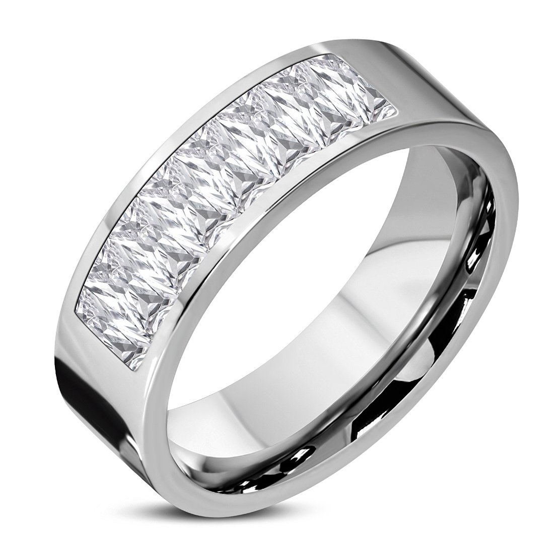 Stainless Steel Channel-Set Comfort Fit Wedding Flat Band Ring with Baguette Clear CZ
