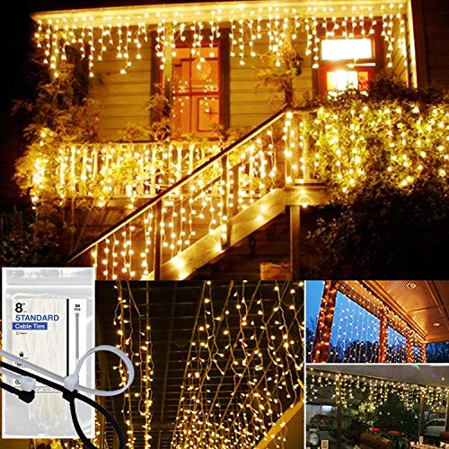 KNONEW LED Icicle Lights, 216 LEDs, 16.4ft, 8 Modes, String Fairy Light, LED String Light for Wedding Party/Christmas/Halloween/Party Backdrops + Cable Ties (Connected in Series) ()