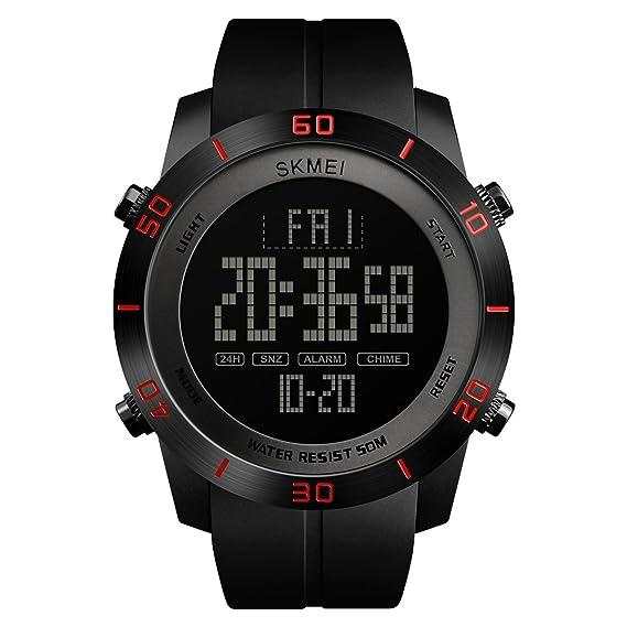 Abrray - Reloj digital para hombre con esfera grande, luminoso, formato de 12/24 horas: Amazon.es: Relojes