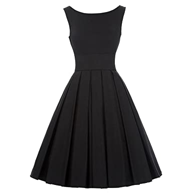 Trendy-Nicer Sexy Pinup Vestidos Rockabilly Hepburn O-Neck Sleeveless TunicBlack Retro Casual 50s