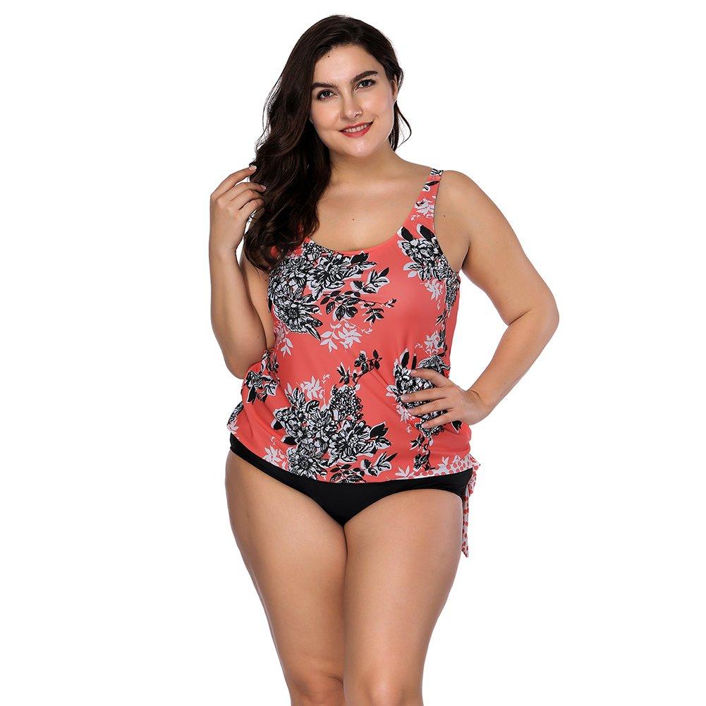 e82c32dc440 Amazon.com  YUMDO Women s Two Piece Floral Printed Swimsuits Vintage Swimwear  Plus Size Bikini Set  Clothing